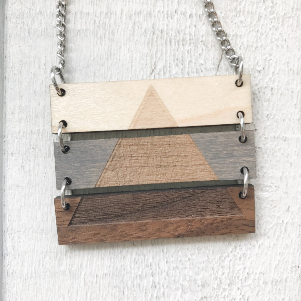 Wooden Pyramid Necklace Necklace handmade gift Bozeman, Montana