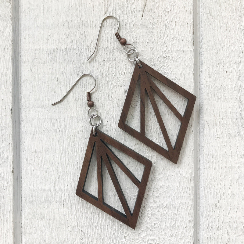 Diamond Ray Wood Earrings Earrings handmade gift Bozeman, Montana