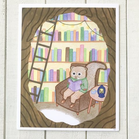 Treehouse Squirrel Print
