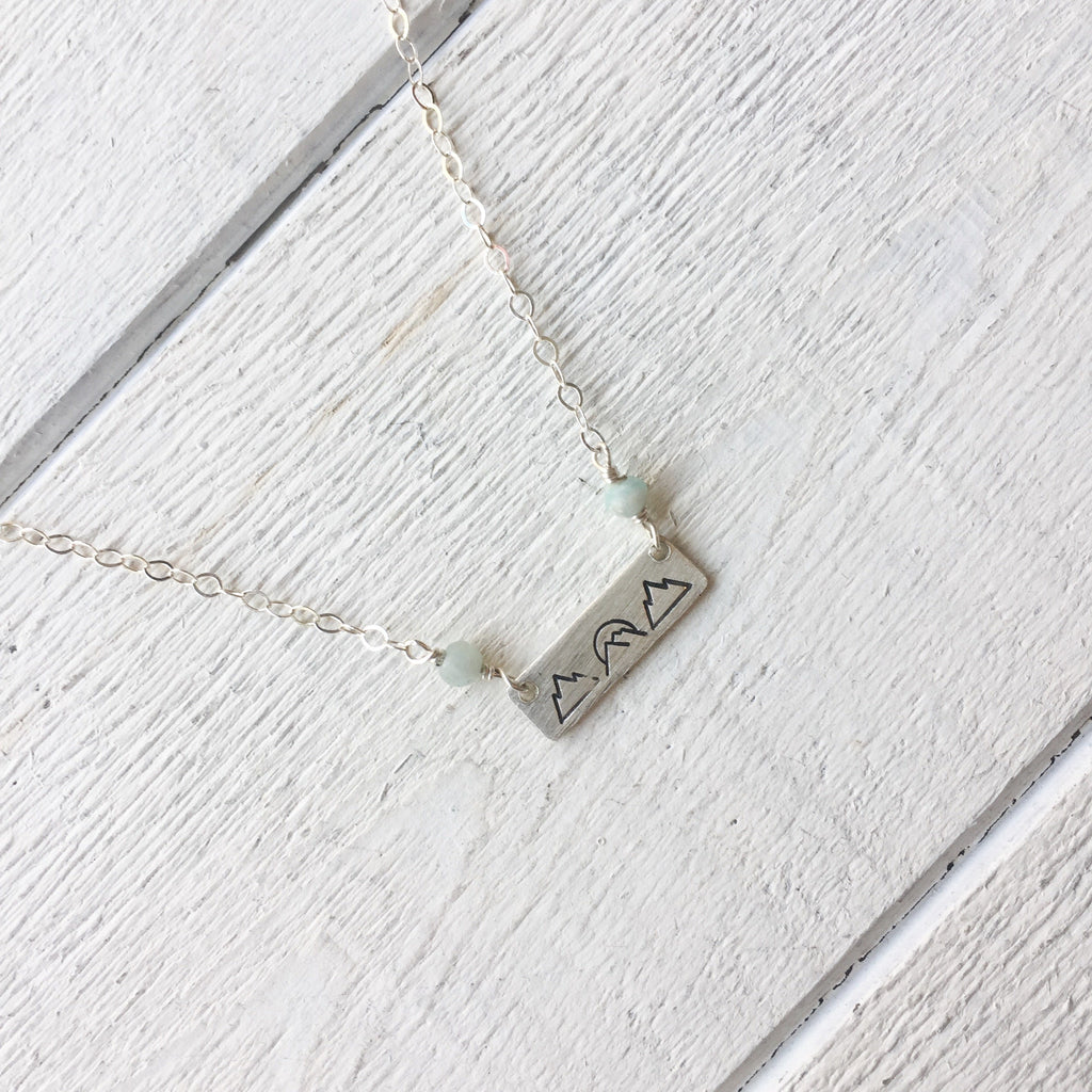 Happy Place Mountain Necklace Necklace handmade gift Bozeman, Montana