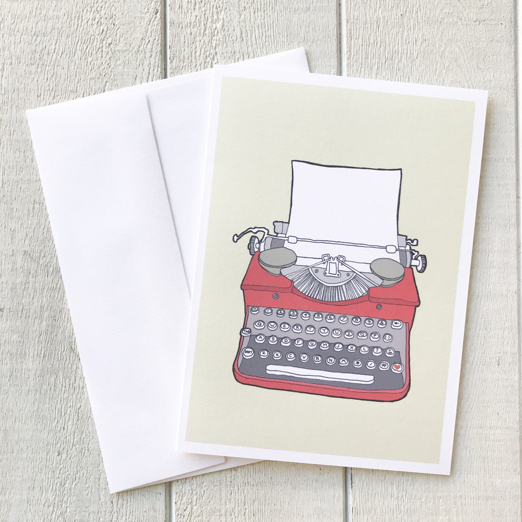 Vintage Typewriter Card - Red Greeting Card handmade gift Bozeman, Montana
