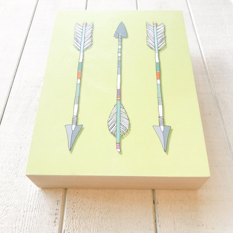 Arrows Trio Wood Block Wood Art Blocks handmade gift Bozeman, Montana