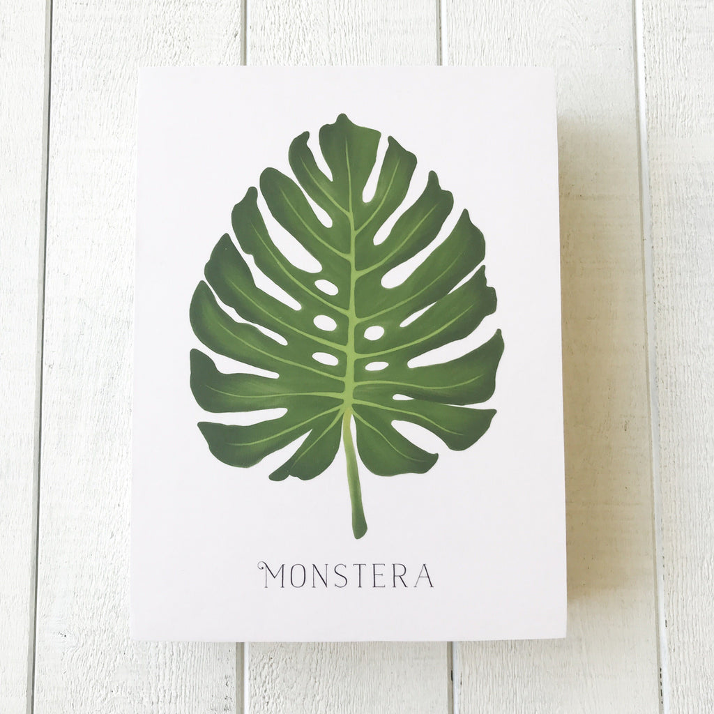 Monstera Wooden Art Block Wall Hanging handmade gift Bozeman, Montana