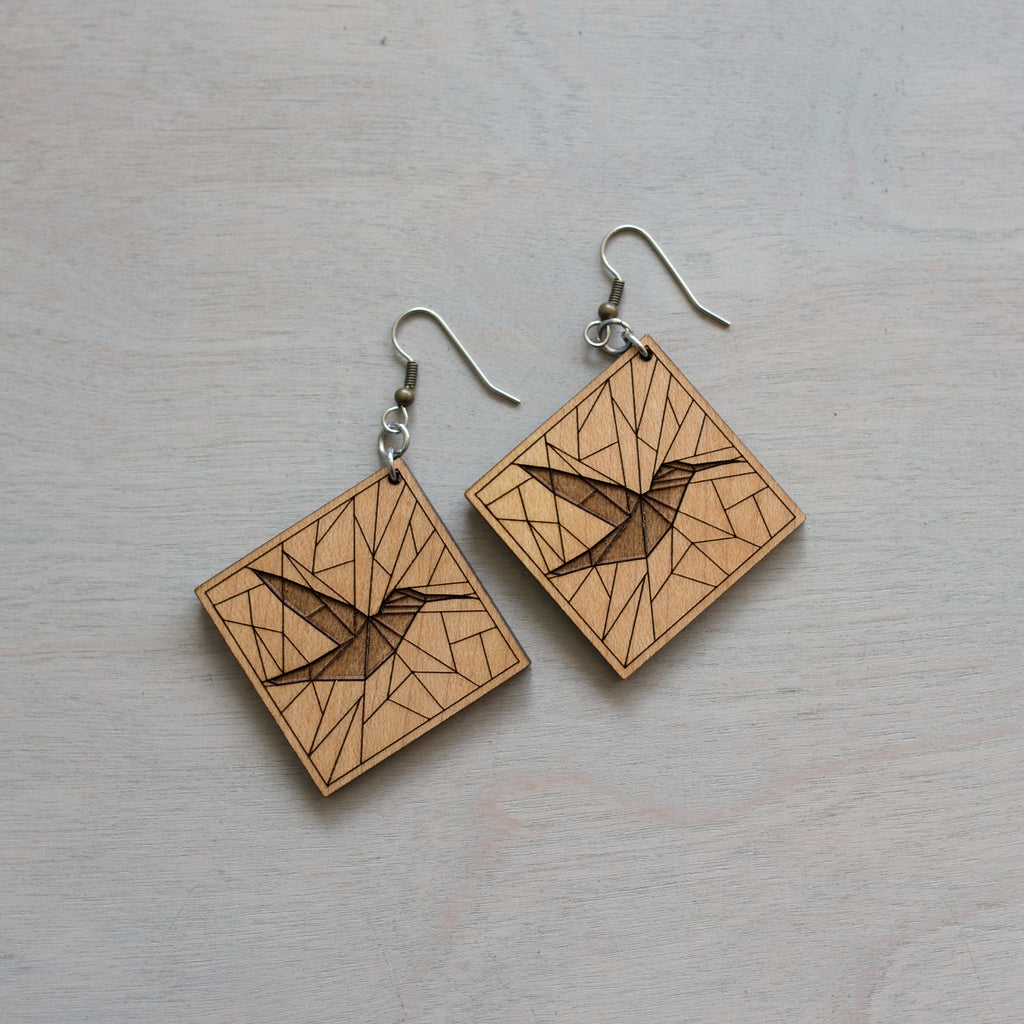 Geometric Hummingbird Wood Earrings