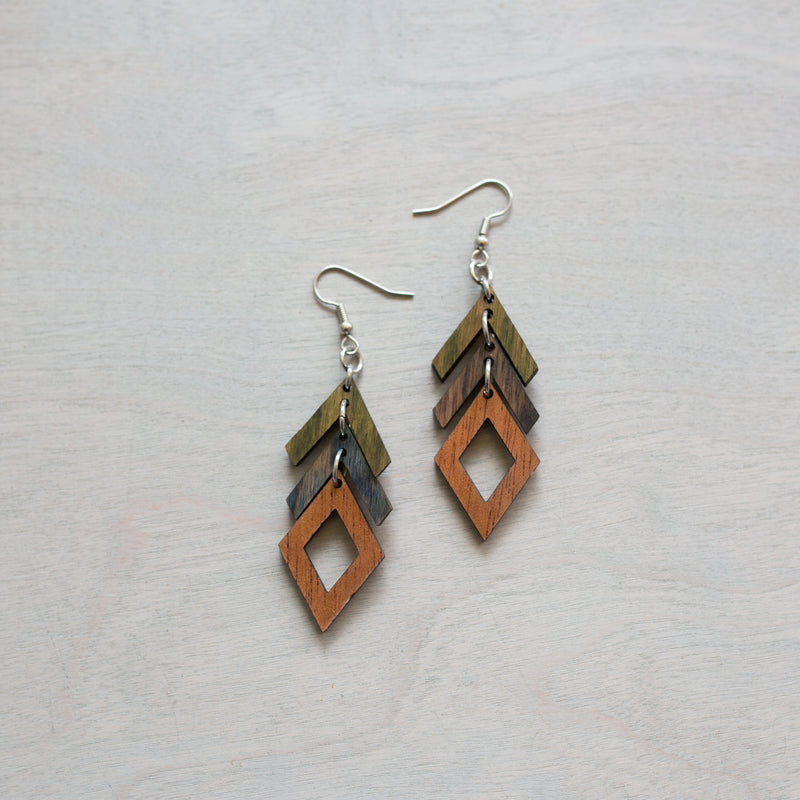 Ombre Arrows and Diamonds Wooden Earrings