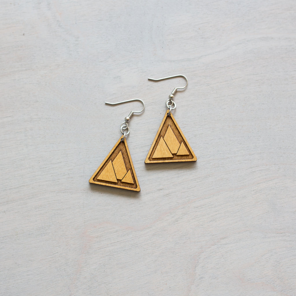 Triangle Inlay Wood Earrings