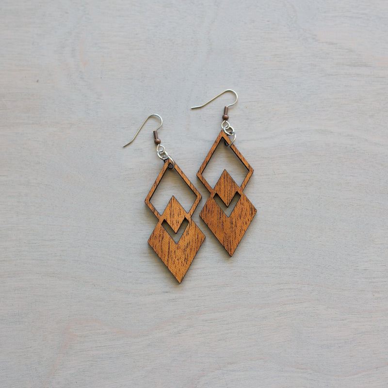 Double Diamond Wooden Earrings