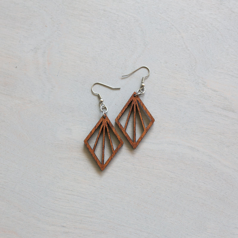 Diamond Ray Wood Earrings