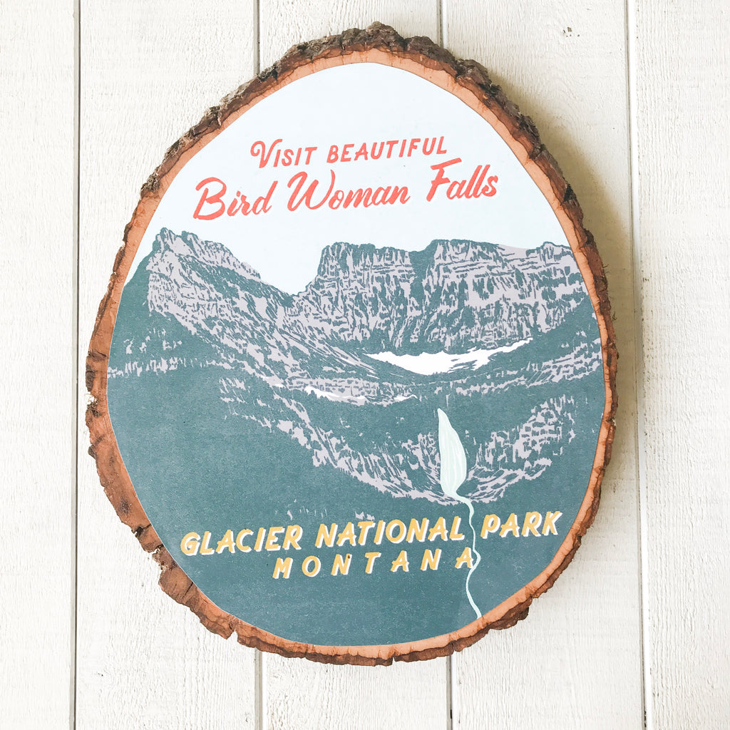 Bird Woman Falls - Bark Wood Art Wall Hanging handmade gift Bozeman, Montana