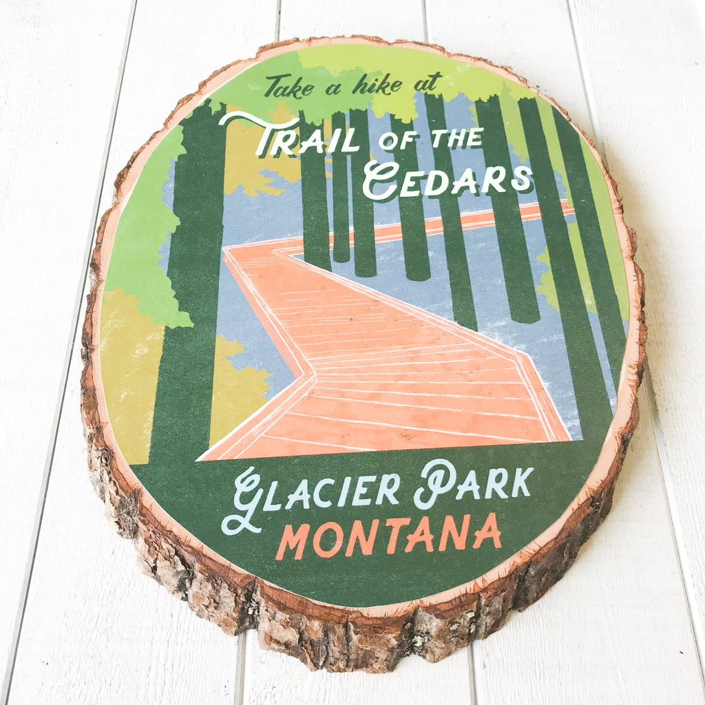 Trail of the Cedars - Bark Wood Art Wall Hanging handmade gift Bozeman, Montana