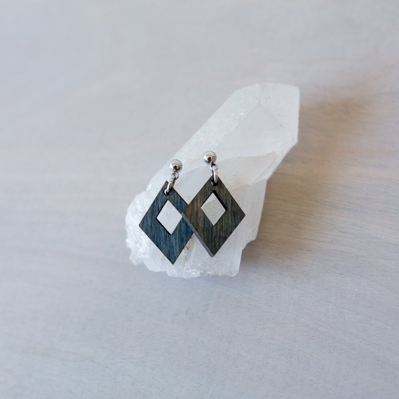 Small Triangle in a Triangle Wooden Earrings