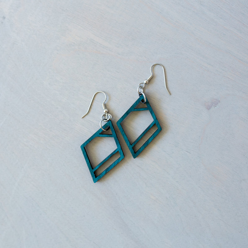 Geometric Diamond Wood Earrings