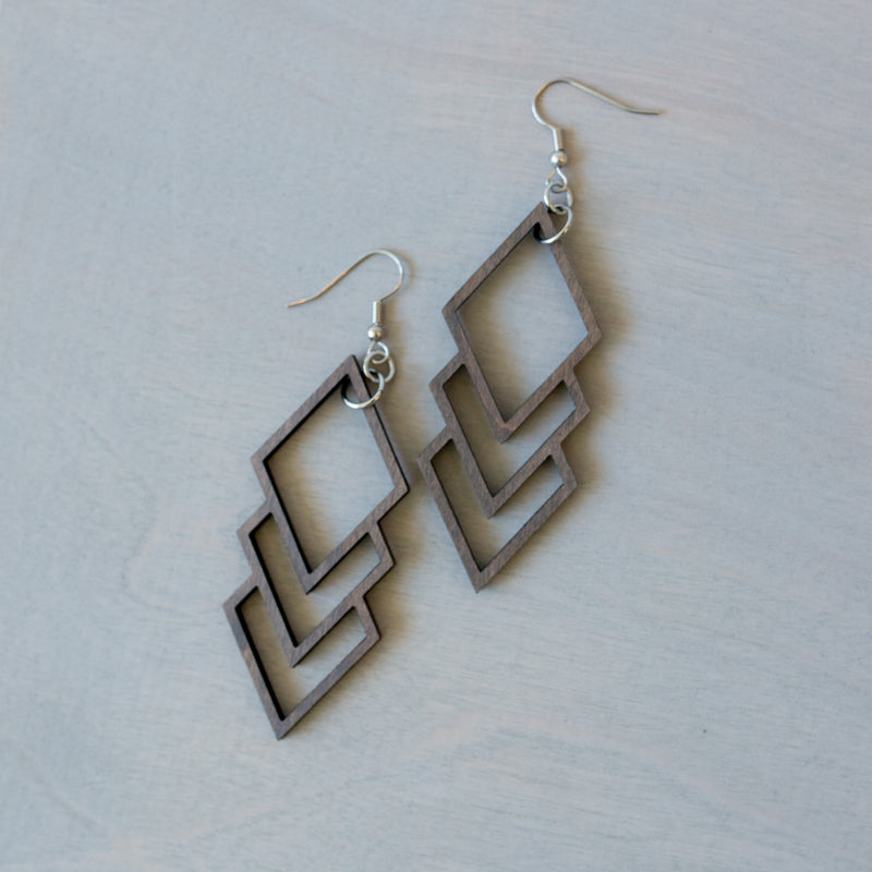 Oblong Triple Diamond Wooden Earrings