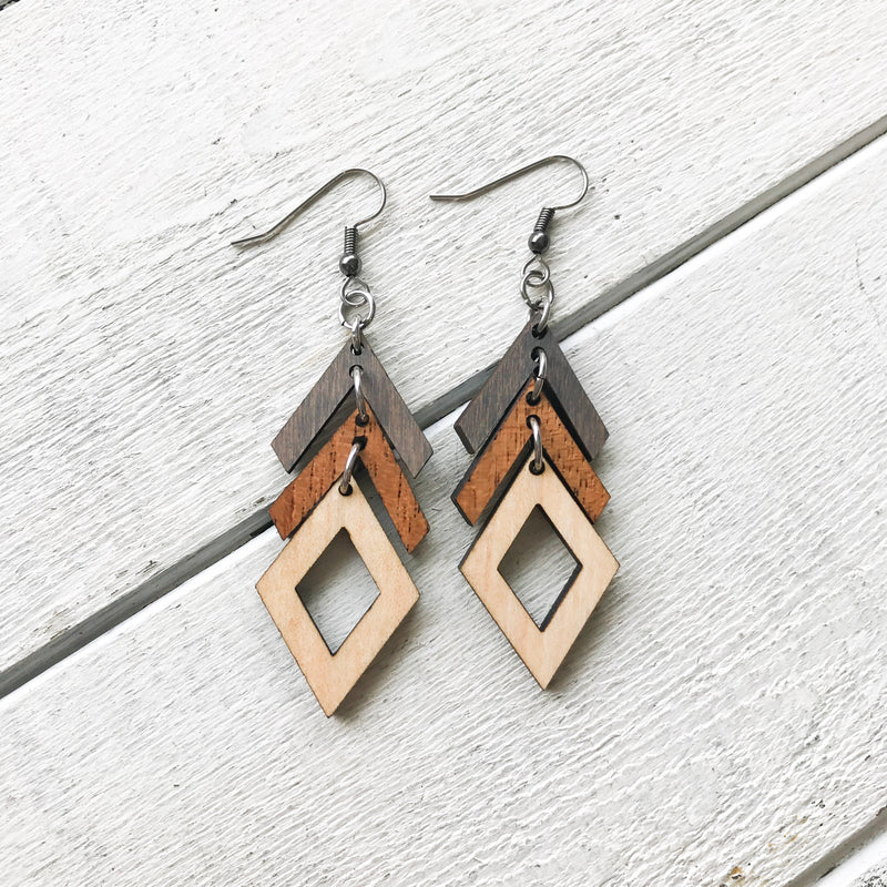 Ombre Arrows and Diamonds Wooden Earrings Earrings handmade gift Bozeman, Montana