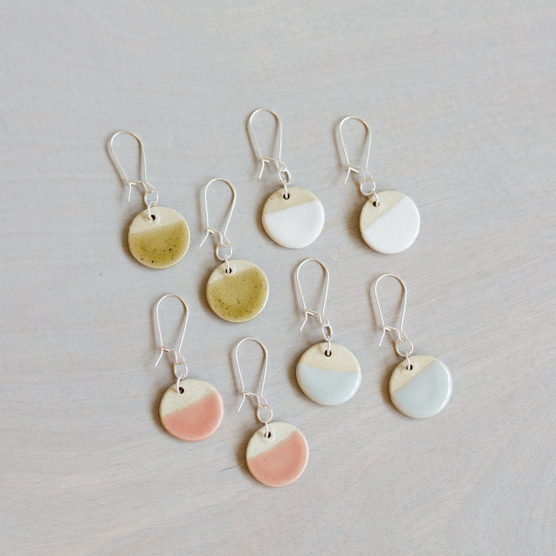 Pottery Dipped Disc Earrings