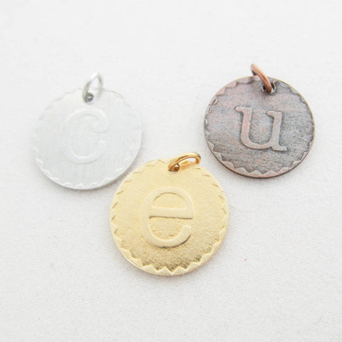 Embossed Initial Pendant Necklace