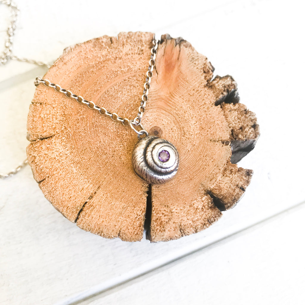 Mountainsnail Shell with Cubic Zirconia Amethyst Necklace