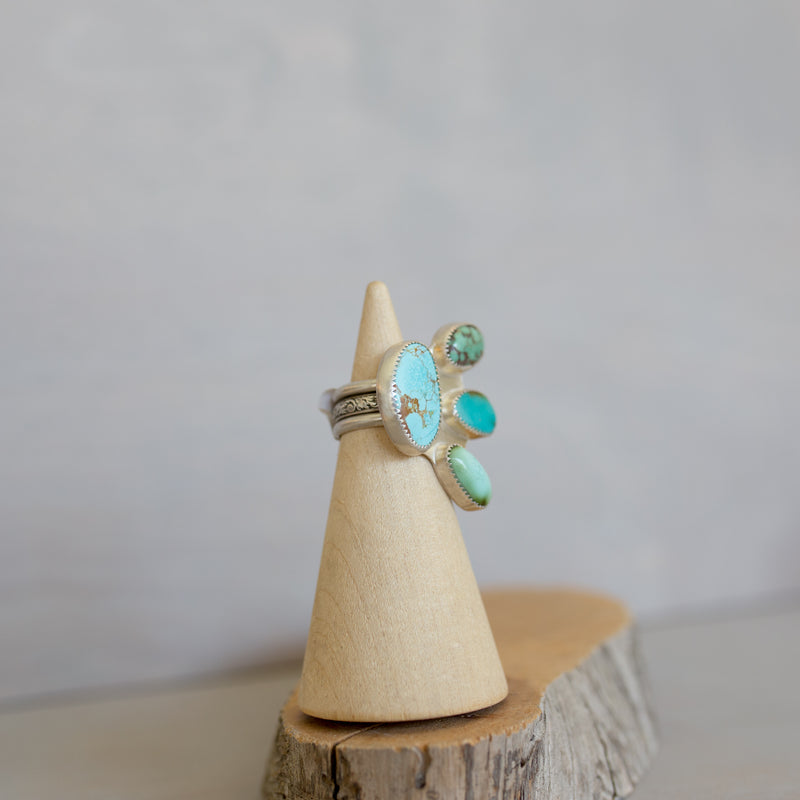 Roystone Turquoise Four Stone Triple Band Ring