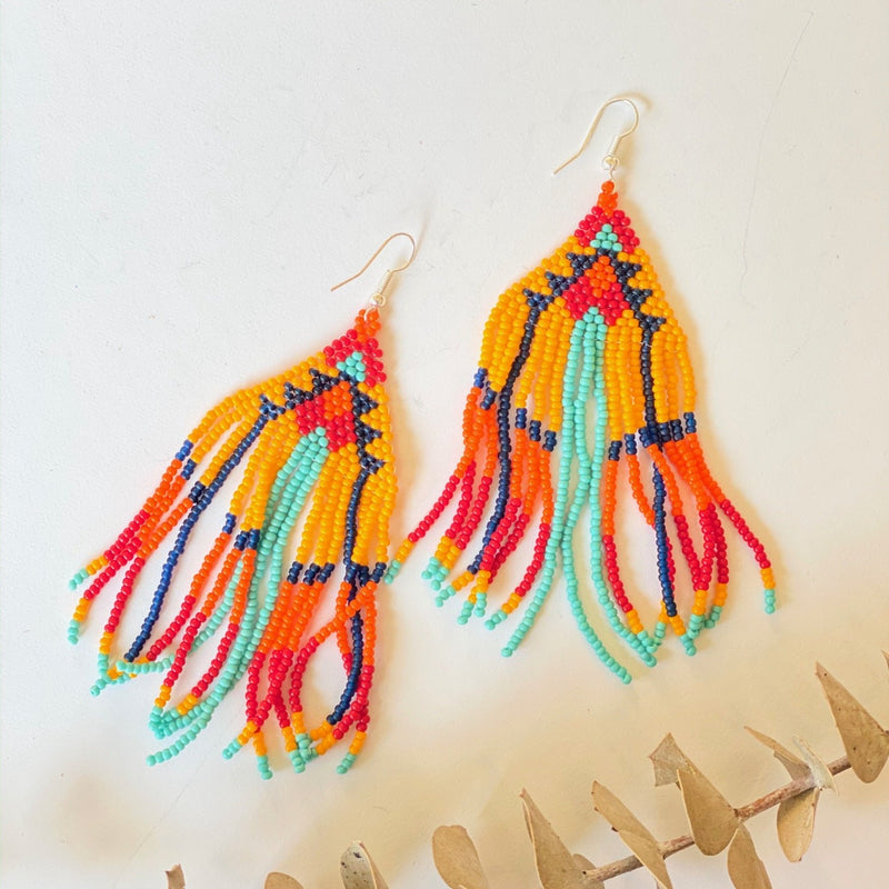 Erika Seed Bead Fringe Earrings