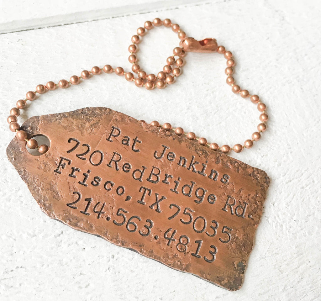 Rustic Copper Luggage Tag Luggage Tag handmade gift Bozeman, Montana
