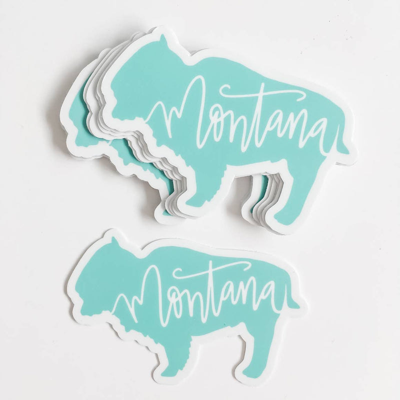 Wildflower Paper Company Montana Bison Mint Green State Sticker