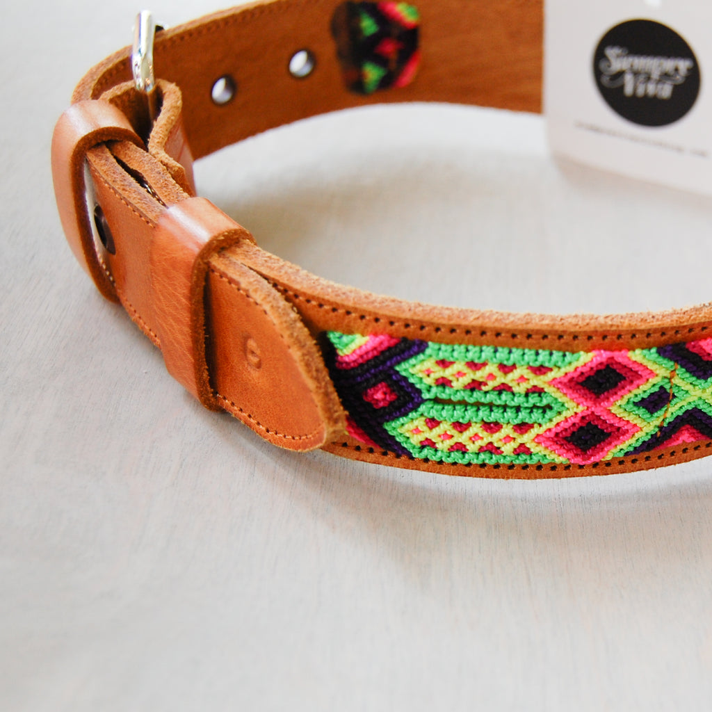 Leather and Hand Woven Textile Pet Collars