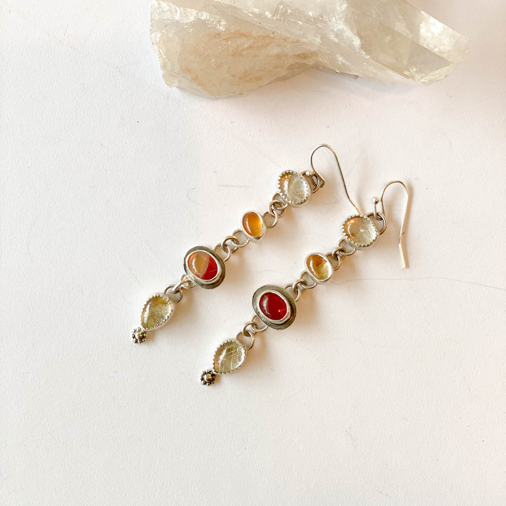 Mexican Fire Opal & Rutile Earrings