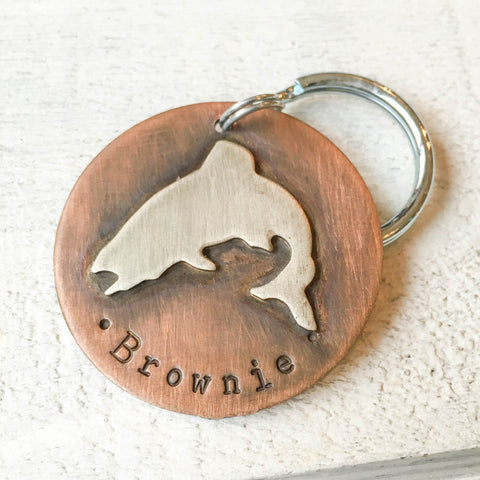 Jumping Trout Pet Tag