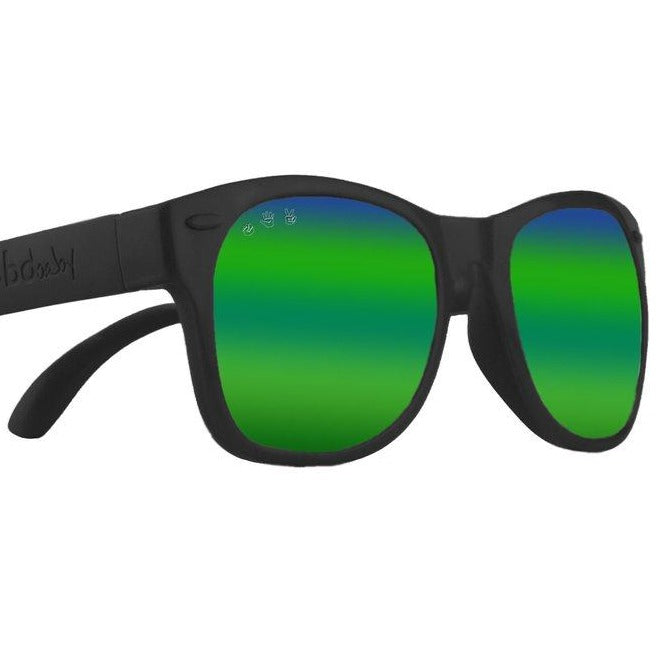 Bueller Black Baby Shades - Polarized Green Mirror Lenses
