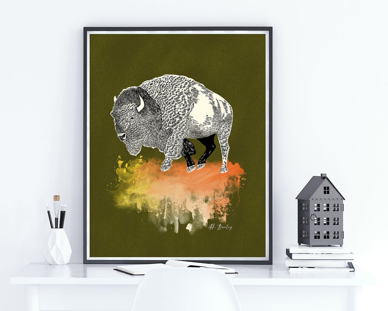 Abstract Bison Wall Art Print