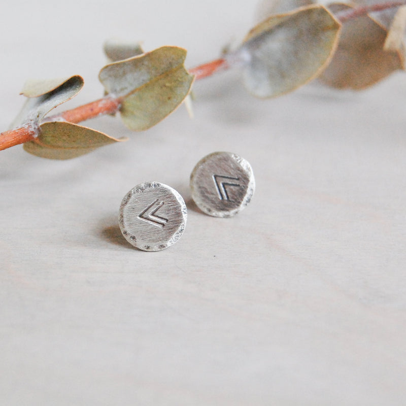 Sterling Silver Rustic Circle Stud Earrings Earrings handmade gift Bozeman, Montana