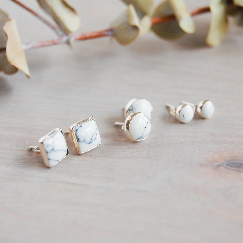 White Buffalo Turquoise Stud Earrings Earrings handmade gift Bozeman, Montana