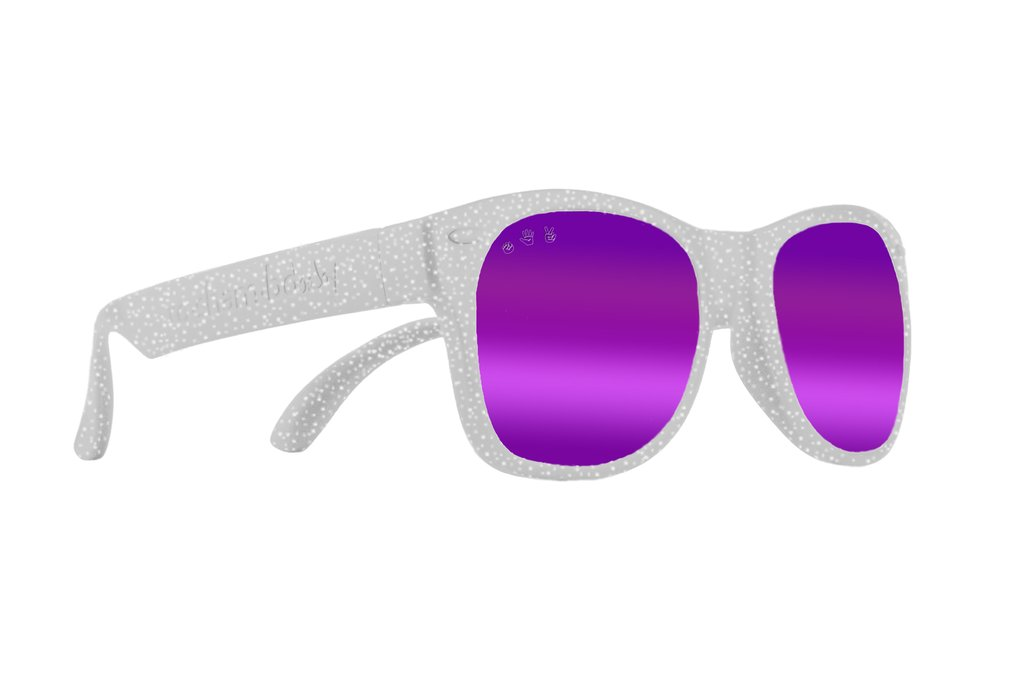 Starlight Silver Glitter Toddler Shades-Polarized Purple Mirror Lenses