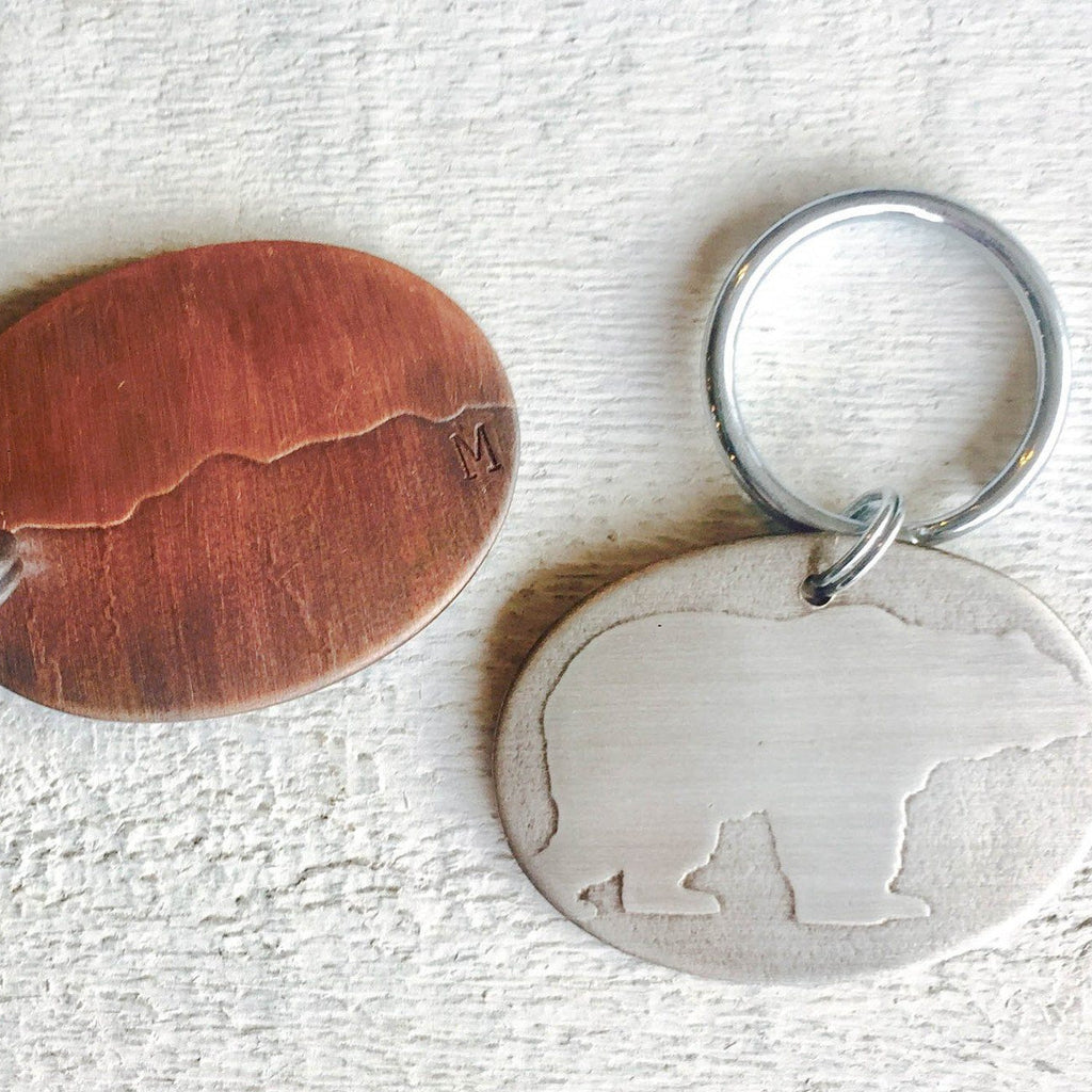 Embossed Oval Keychain