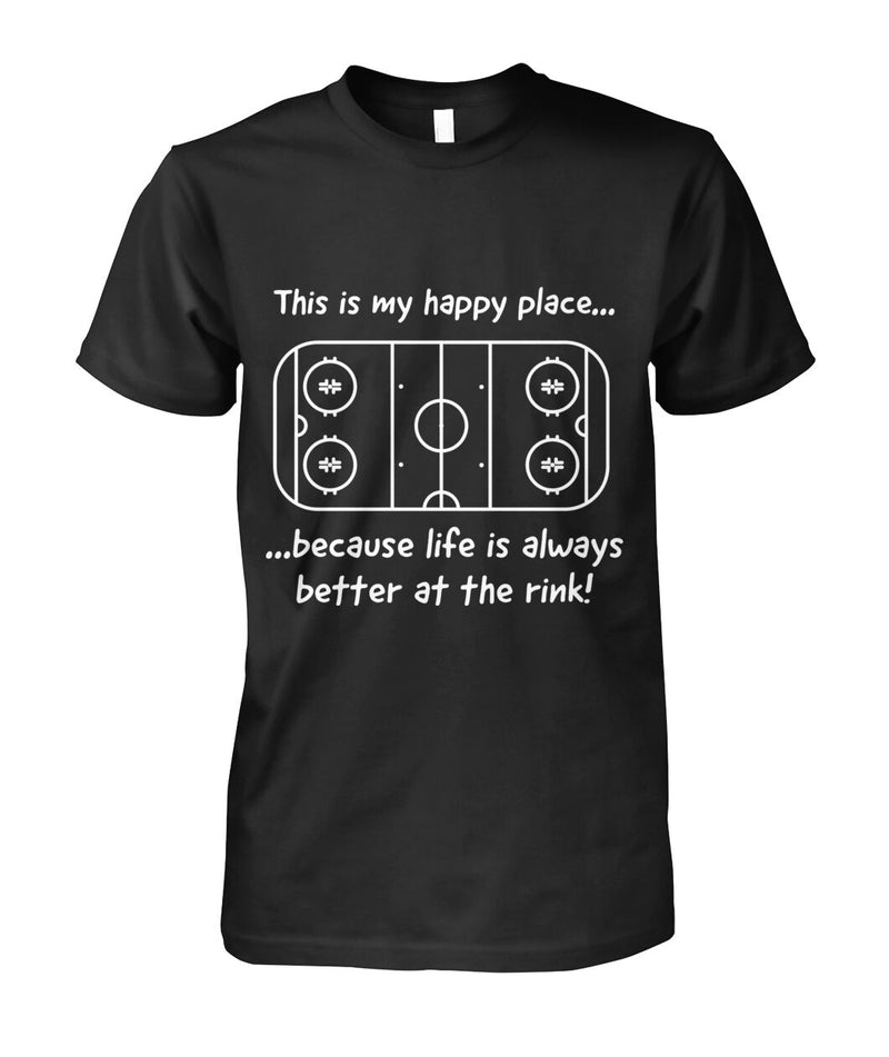 Happy Place - Life is better at the rink Unisex Cotton Tee