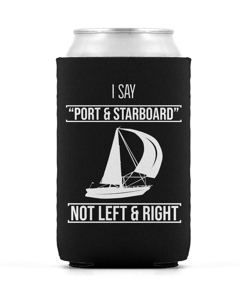 Can Sleeve Black Sailing with Boat