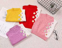 Floral Knitted Wool Sweaters Pink & Yellow - LittleDofi