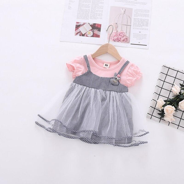 Imported Fancy Baby Net Pink Frock with Multiflayers - LittleDofi