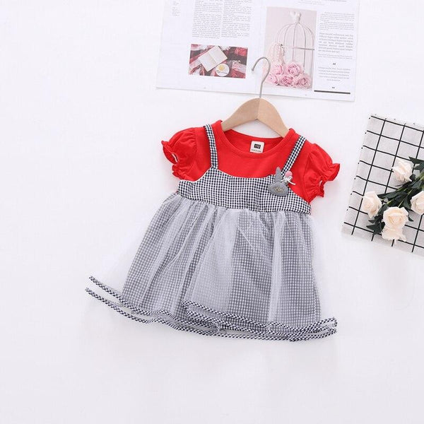 Imported Fancy Baby Net Red Frock with Multiflayers - LittleDofi