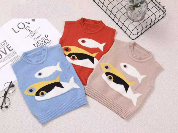 Knitted Wool Fish Sweaters Zink & Blue - LittleDofi