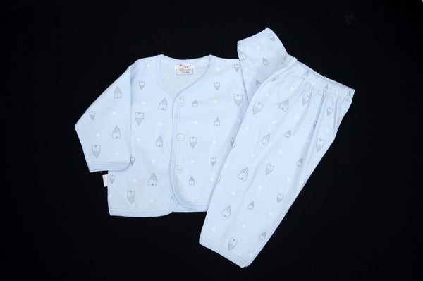 Newborn baby/baba full sleeves printed shirt with pant - LittleDofi