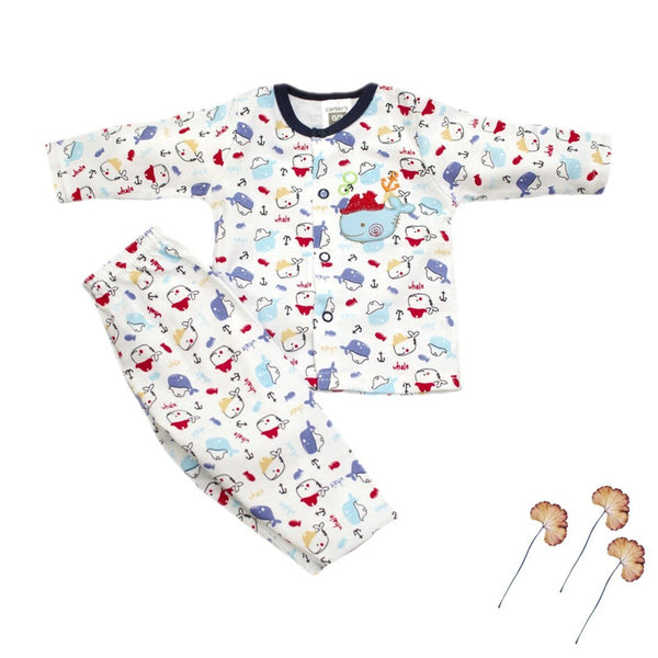 Thailand made Cartoon Print Newborn baby/baba full sleeves printed shirt with pant - LittleDofi