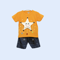 Yellow Soft Cotton Summer Dresses For Baby Boy With Stuffed Star Design - LittleDofi