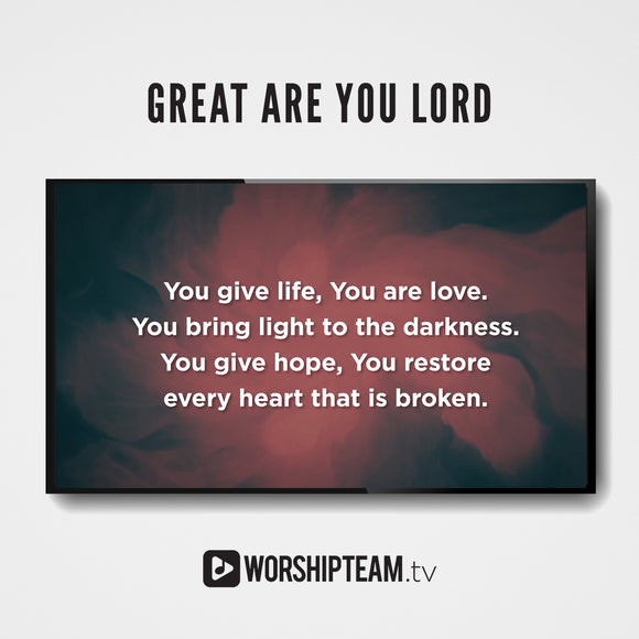 Great Are You Lord Worship Resources | WorshipTeam.tv