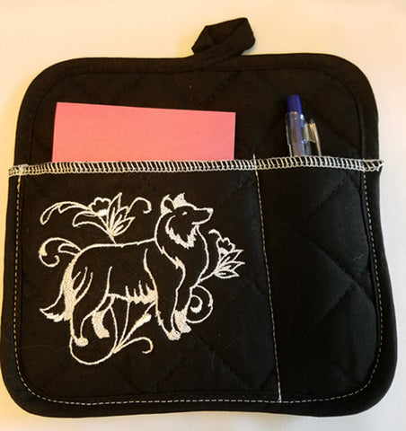 Magnetic Sheltie Potholder Notepad Holder