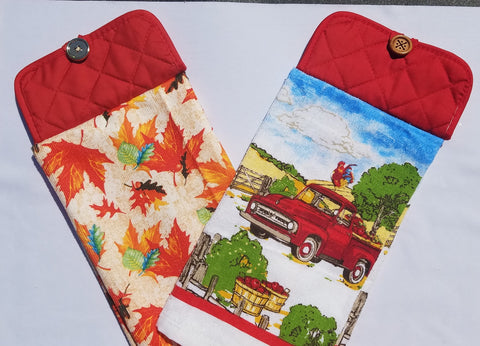 Kitchen Towel with Pot Holder Top Fall Leaves and Apples