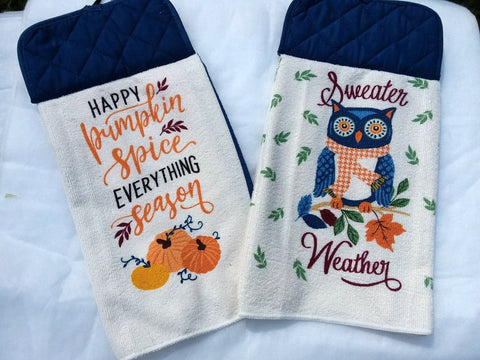 Kitchen Towel with Pot Holder Top Sweater Weather
