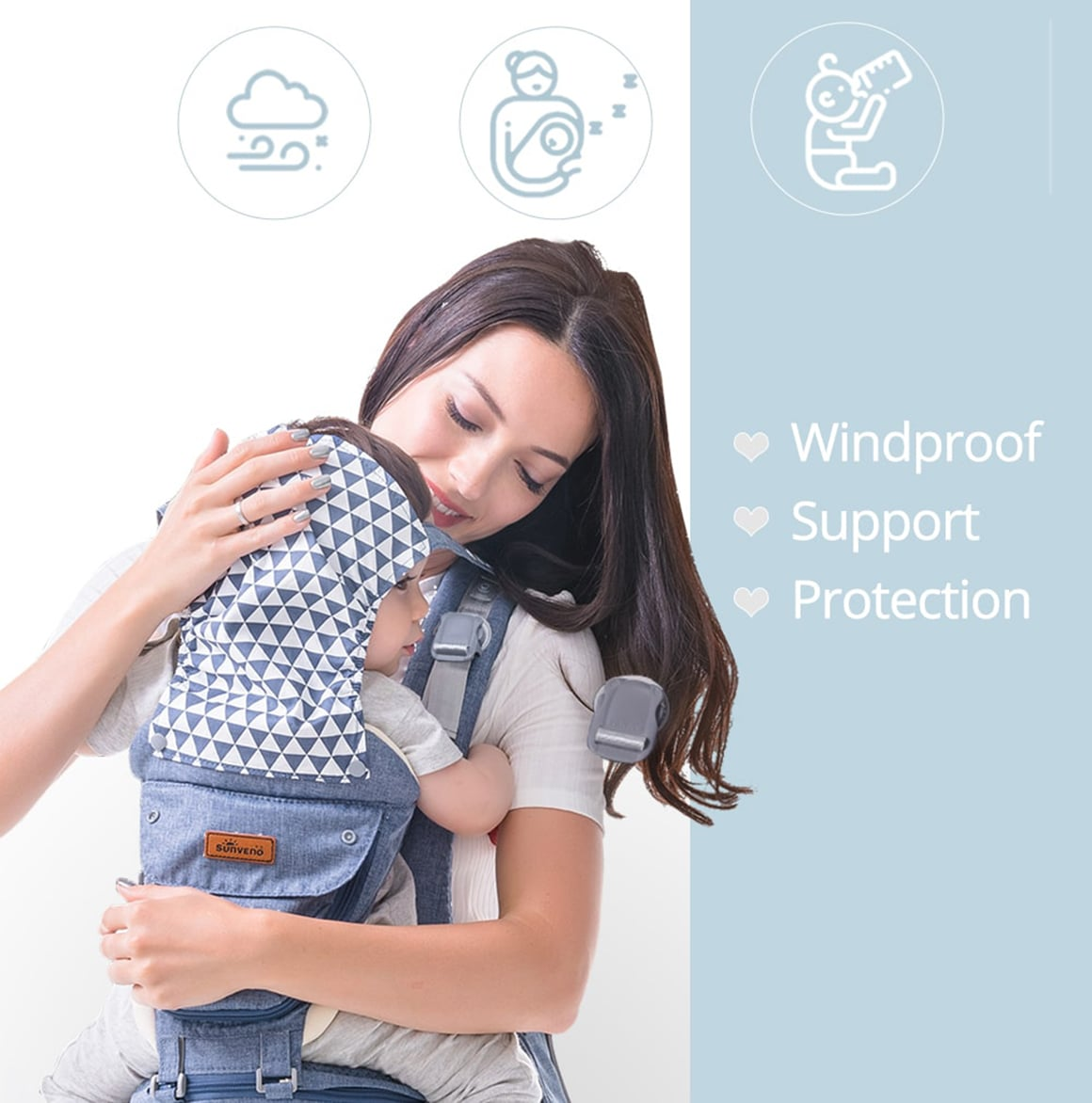 3 In 1 Ergonomic Baby Carrier with Windproof support prorection