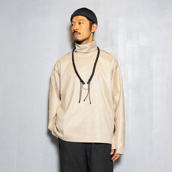 Suede Split Sleeve Turtleneck(Grey)/MW-CT20202