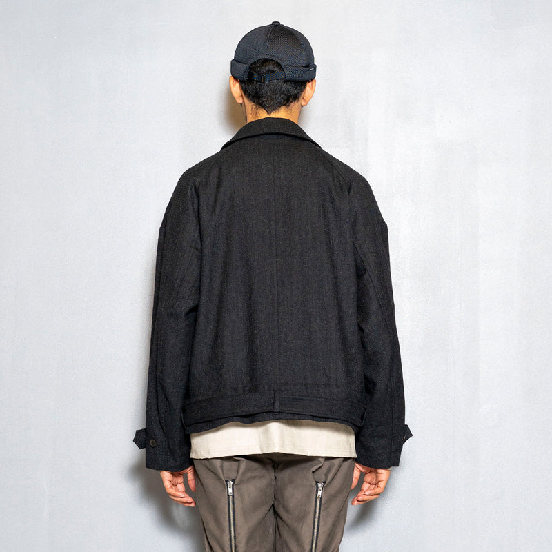 Alpaca Herringbone Split Over Coat(Coal)/MW-JKT20208